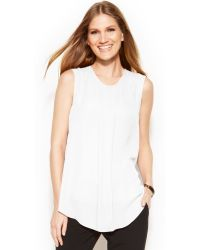 Vince Camuto Sleeveless Front-Pleat Blouse - Lyst