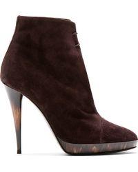 Burberry Prorsum Purple Suede Grace Ann Ankle Boots - Lyst