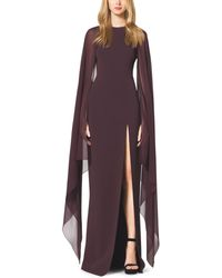 Michael Kors Stretch Wool Crepe Cape Gown - Lyst