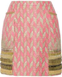 Matthew Williamson Embellished Tweed Mini Skirt - Lyst