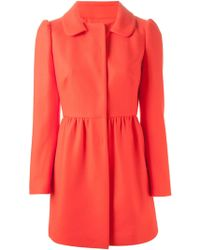 RED Valentino Peter Pan Collar Flared Coat - Lyst