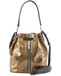 Elizabeth And James Cynnie Mini Metallic Snake-print Bucket Bag - Lyst
