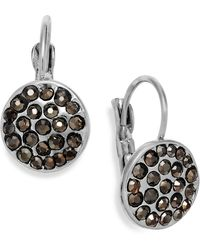 Inc International Concepts Silver-Tone Crystal Disc Leverback Earrings - Lyst