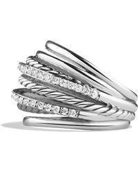 David Yurman Crossover Dome Ring With Diamonds - Lyst
