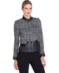 Catherine Catherine Malandrino Tweed and Faux Leather Jacket - Lyst
