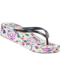 Tory Burch Thandie Wedge Flip Flop Navy Lucky Charm blue - Lyst