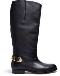 Moschino Cheap & Chic Knee High Buckle Flat Boot - Lyst