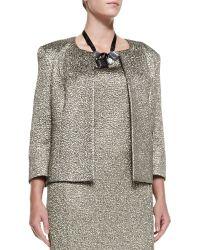 Marina Rinaldi Carrozza Jacquard Metallic Short Jacket - Lyst