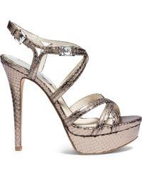 Michael Kors Cicely Metallic Embossed-Leather Platform Sandal gold - Lyst