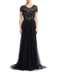 Marchesa | Short-sleeve Sequin-embroidered Tulle Gown | Lyst