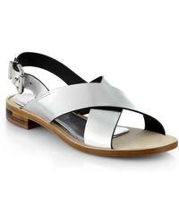 Fendi Claire Crisscross Leather Sandals - Lyst