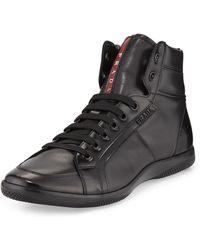 Prada Napa Leather Hightop Sneaker - Lyst