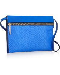 Victoria Beckham - Python And Textured-Leather Shoulder Bag - Lyst
