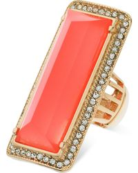 Guess - Gold-tone Rectangular Stone Stretch Ring - Lyst
