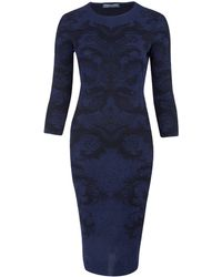 Alexander McQueen Navy Spine Lace Jacquard Knit Pencil Dress - Lyst