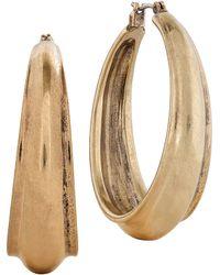 Lucky Brand - Textured Gold Hoops - Lyst