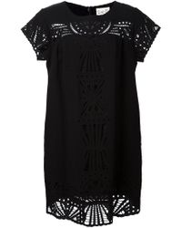 Sea Lace Paneled Silk Dress - Lyst