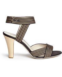 Giorgio Armani Stripe Embroidery Satin Sandals multicolor - Lyst