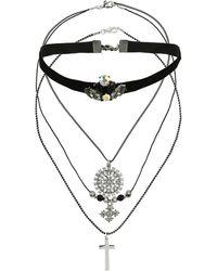 Topshop Velvet Choker and Necklace Set - Lyst