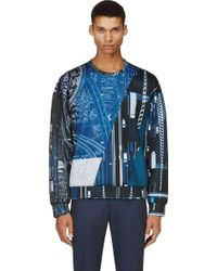 Calvin Klein Blue and Green Traffic Print Sweatshirt - Lyst