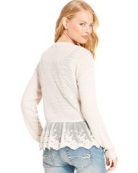 American Rag Embroidered Mesh Cardigan - Lyst