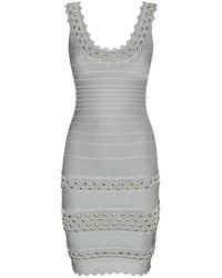 Hervé Léger Saige Studded Bandage Dress - Lyst