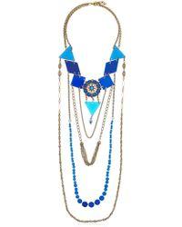 Maria Zureta - Blue & Gold Chain Long Necklace - Lyst