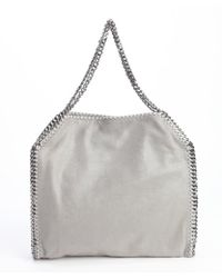 Stella McCartney Silver Faux Leather 'Falabella' Braided Chain Detail Tote - Lyst