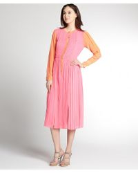 Rachel Roy Candy Pink and Orange Pleated Silk Long Sleeve Dress - Lyst