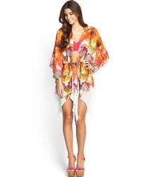 Forever Unique Printed Embellished Kaftan - Lyst