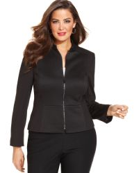Tahari Asl Plus Size Zipfront Quilted Jacket - Lyst