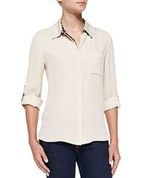 Diane Von Furstenberg Lorelei Two Button Tab-sleeve Blouse - Lyst