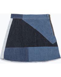 Zara Patchwork Miniskirt - Lyst