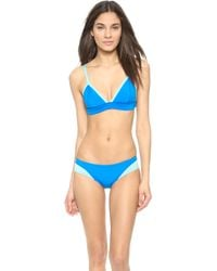 Cynthia Rowley | Colorblock Triangle Bikini Top - Black | Lyst