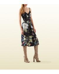 Gucci Flora Knight Print Silk Dress - Lyst