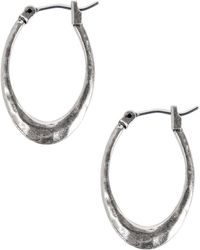 Lucky Brand - Silvertone Small Hammered Hoop Earrings - Lyst
