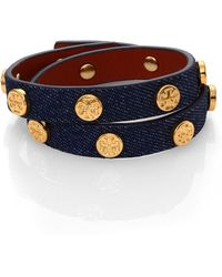 Tory Burch Logo Stud Denim & Leather Double-Wrap Bracelet - Lyst