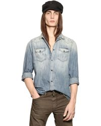 Diesel Raw Denim Western Shirt - Lyst