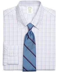 Brooks Brothers Noniron Extraslim Fit Triple Overcheck Dress Shirt - Lyst