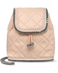 Stella McCartney Falabella Quilted Powder Mini Backpack beige - Lyst