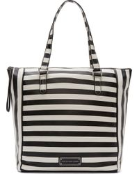 Marc By Marc Jacobs Black and White Striped Leather Take Me Tote - Lyst