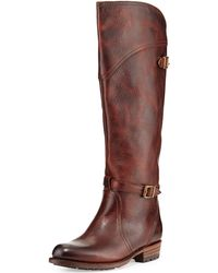 Frye Dorado Buckled Leather Riding Boot - Lyst
