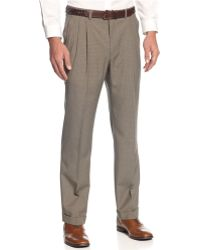 Lauren by Ralph Lauren - Light Brown Houndstooth Pleated Dress Pants - Lyst