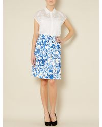 Max Mara Studio Floral Print Pleat Skirt - Lyst