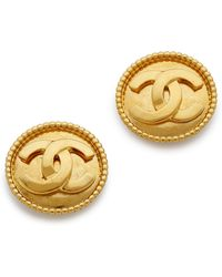 What Goes Around Comes Around Vintage Chanel Dot Border Earrings - Gold - Lyst