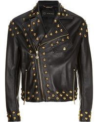 Versace Studded Biker Jacket - Lyst