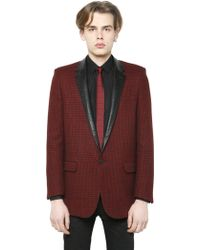 Saint Laurent Houndstooth Nappa Leather Wool Jacket - Lyst