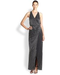 Parker Black Beaded Wrap Gown - Lyst