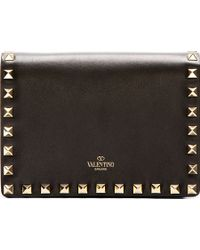 Valentino Black Leather Rockstud Crossbody Bag - Lyst