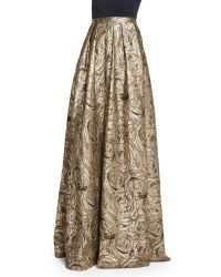 Carmen Marc Valvo - Floral Metallic Jacquard Ball Skirt - Lyst